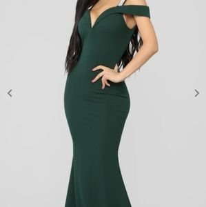 Green Gown with embellished straps
